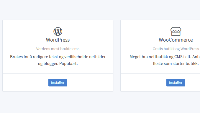 Installer WordPress og Woocommerce med et klikk